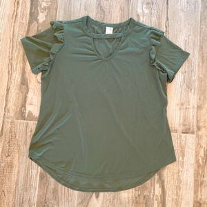 Army Green Ruffle Sleeve Top